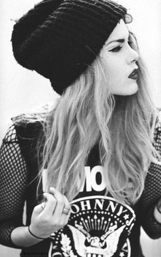 Black beanie, ramones rock tee, mesh, black and white, rocker, rock and roll.