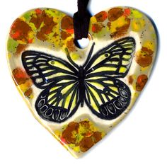 Butterfly Ceramic Heart Necklace in Spotted Sandy Brown by surly, $22.00