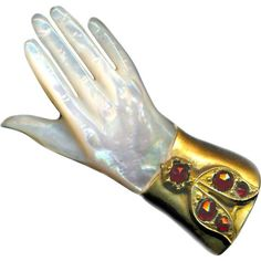 Brooch or Watch Pin--ONE Large Hand Carved Mother of Pearl Lady's Hand in Gold-plated Brass & Garnets: