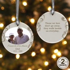 This is such a great idea for memorializing a loved one at Christmas! Having lost my dad around the holidays in 2009, it's really tough celebrating without him. #personalizationmall #christmasshopping #ornaments #personalizedgifts #photogifts #christmas #ad [Personalization shown is for illustrative purposes only. Font color, size and type may vary.]
