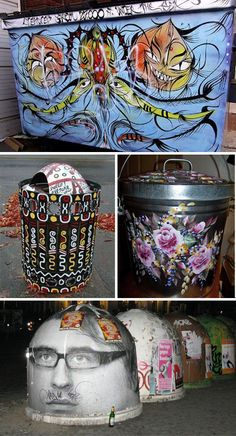 garbage cans to art  (Images via crookedbrains, kickapoofart, squash, seattlepi)