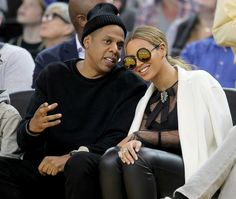 Jay-Z and Beyonce attend the Golden State Warriors game against the Oklahoma City Thunder at Oracle Arena in Oakland, Calif., on Saturday, Feb. 6, 2016. (Anda Chu/Bay Area News Group)
