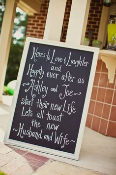Love the idea of using chalkboards....this one goes right by the bar