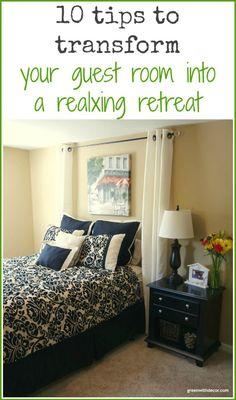 10 tips to transform your guest bedroom into a relaxing retreat. Such cozy guest room ideas – and they're so easy! I definitely have to remember these next time we have guests stay with us. Green With Decor Guest Bedroom Office, Guest Room Decor, Bedroom Green, Guest Bedrooms, Home Bedroom, Bedroom Decor, Bedroom Interiors, Spare Bedroom Ideas On A Budget, Bedroom Girls