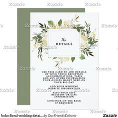 boho floral wedding details information card #weddingdetailscard #accommodationscard #giftregistrycard #bohowedding #editableweddingcard