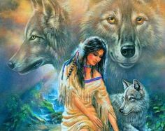 Native American Girl with Wolves 3 Cross Stitch by Bizshots