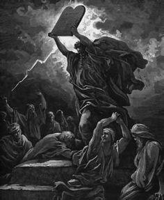 Moisés rompe las tablas de la ley. Ilustración de G. Doré. Antiguo Testamento.
