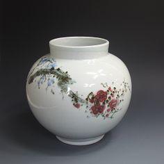 백자진사 매화문호 白磁辰砂 梅花紋壺 (white Jinsa porcelain - Cherry Blossom)