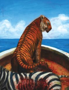The Life of Pi by Yann Martel is such a beautiful and spiritual story that really resonated with me. I love this book and am really glad I have the illustrated version as the pictures are beautiful. Life Of Pi Book, The Life, The Book, Losing Your Mother, Spiritual Stories, Misery Loves Company, Ang Lee, Tiger Art, Film Books