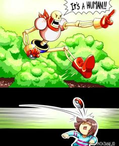 Papyrus and Frisk - pokemon parody Memes Undertale, Undertale Comic Funny, Undertale Cute, Undertale Fanart, Frisk, Undertale Pokemon, Video Minecraft, R6 Wallpaper, Toby Fox