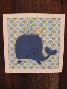 Whale kids room art, nursery art, kids wall art, baby nursery, nautical decor, boys rooms decor. $15.00, via Etsy.