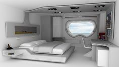 Discover recipes, home ideas, style inspiration and other ideas to try. Futuristic Bedroom, Futuristic Interior, Futuristic Design, Futuristic Architecture, Sustainable Architecture, Architecture Design, Spaceship Interior, Spaceship Design, Bed Design