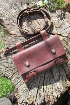 Hand made leather hip bag with slim leather belt by wildharvest