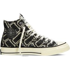 Converse Chuck Taylor All Star '70 Woolrich – black Sneakers ($100) ❤ liked on Polyvore featuring shoes, sneakers, black, converse footwear, vintage style shoes, print shoes, star sneakers and patterned shoes