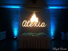 #disney #princess #lighting #monogram #lighting #quince #uplighting #blue #drape #loveit Wedding Events, Weddings, Monogram, Neon Signs, Disney Princess, Lighting, Blue, Light Fixtures, Mariage