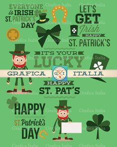 St. Patrick's Day Clipart - Saint Patricks Day Clip Art Digital Download - Scrapbooking Supplies, DIY Craft Projects by graficaitalia