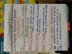 Making Connections (Spanish) -- So proud of my anchor chart! Dual Language Classroom, Bilingual Classroom, Bilingual Education, Spanish Classroom, Spanish Anchor Charts, Math Anchor Charts, Spanish Language Learning, Teaching Spanish, Language Arts