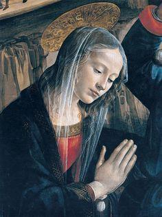 """DOMENICO, il GHIRLANDAIO - Madonna da """"Adorazione dei pastori"""" (dettaglio) - affresco - 1485 - Cappella Sassetti - Basilica di Santa Trinità - Firenze"""