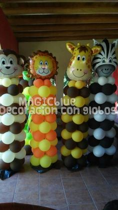Safari baby shower decoration animals balloon archs - Decoracion columnas salon ...