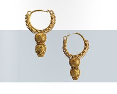 A pair of gold hoop earrings with fine granulation, Roman, 1st century A.D.