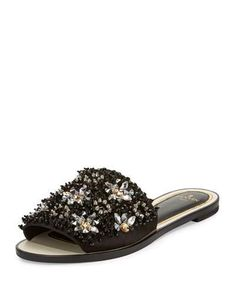 LANVIN BEADED FLAT SLIDE SANDAL, BLACK. #lanvin #shoes #flats