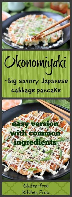 Okonomiyaki - giant Japanese cabbage pancake - savory and delicious. Simple version with easy-to-find ingredients. (gluten-free, too) Use flax egg for vegan? Easy Japanese Recipes, Asian Recipes, Gluten Free Japanese Recipes, French Recipes, Okonomiyaki Rezept, Japanese Diet, Japanese Pancake, Carb Cycling Diet, Gluten Free Kitchen