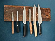 DIY-Anleitung: Magnetische Messerleiste aus Holz selber bauen, Magnetwand, Messerblock, Küchenutensilien / DIY-tutorial: magnetic knife bar, magnet wall, kitchen essentials via DaWanda.com