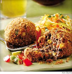 Black Bean Croquettes with Fresh Salsa- Staples like canned black beans and frozen corn transform into spicy croquettes in mere minutes. Serve with warm corn tortillas, coleslaw and lime wedges.