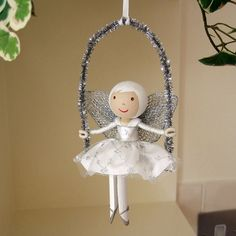 angel clothespin doll | Silver Fairy on a swing, would love these on an xmas tree
