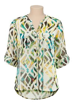 3/4 sleeve printed chiffon button down blouse (original price, $29) available at #Maurices