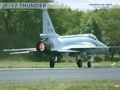 """© Pakistan Air Force - Takeoff of Pakistani JF-17 """"Thunder"""". JF-17 (JF, Joint Fighter) """"Thunder"""" is a multi-role combat aircraft developed jointly by China, with Chengdu Aircraft Industries Corporation (CAC), and Pakistan, with the Air Force Pakistan and Pakistani aviation industries .  Commissioned in March 2007 only in Pakistan, this single-engine aircraft is now only built by Pakistani factories, and was presented in flight at Le Bourget in France in 2015."""