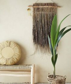 seagrass and palm leaf woven wall hangings heavenly homes Hanging Bar, Boho Wall Hanging, Bamboo Wall, Bohemian Interior, Interior Walls, Wall Hangings, Heavenly, Palm, Home And Garden