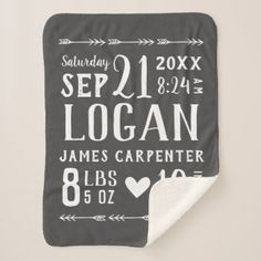 Charcoal Baby Boy Birth Stats | Editable Colours Baby Blanket | Zazzle.com.au Baby Boys, Farmhouse Nursery Decor, Text Layout, Personalized Baby Blankets, Personalized Gifts, Stroller Blanket, Gifts For New Parents, Rustic Baby, Modern Rustic