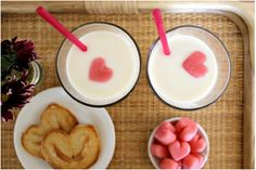 Pink heart ice cubes made of milk! So easy and adorable.