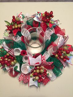 Christmas Multi Color Large Mesh Centerpiece by JEMCrafty on Etsy Hurricane Centerpiece, Holiday Centerpieces, Candle Centerpieces, Xmas Decorations, Centerpiece Ideas, Candles, Christmas Colors, Christmas Time, Christmas Wreaths