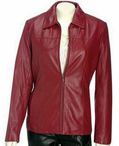 Womens leather jacket custom made style 1063NL Red image