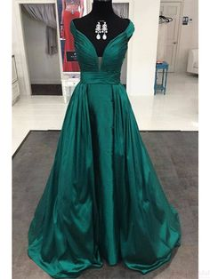 V-neck A Line  Long Satin  Prom Dresses Evening  Dresses  #promdresses #SIMIBridal