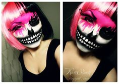 Really cool Halloween makeup! Scary skull meets bubblegum pink!  Rose Shock: Halloween