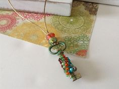 Cottage Chic Satin and Crystal Key Pendant Necklace on Etsy, $18.00
