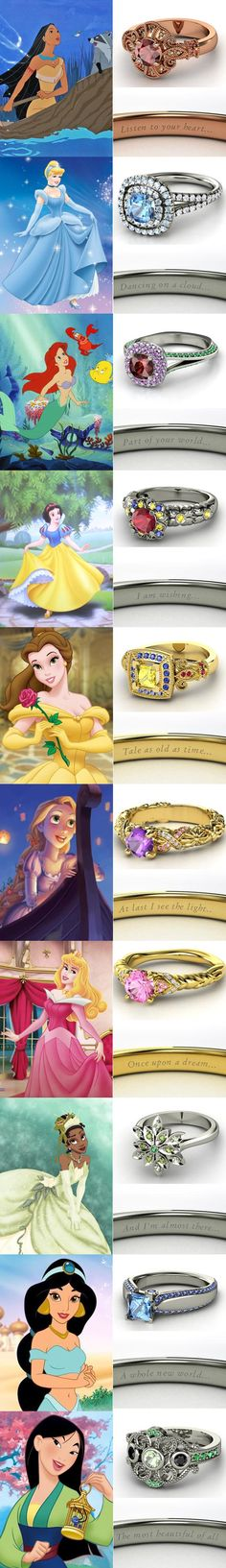 Disney Princess Wedding Rings by Gemvara - these would make cool engagement rings, or just awesome gifts:) I like all except Snow White's, Ariel's, and Cinderella's. I LOVE Pocahontas's, Belle's, Tiana's, and Mulan's