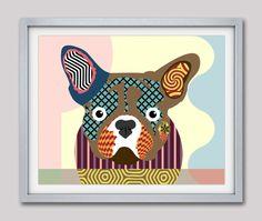 French Bull Dog Art, French Bull Dog Gifts, French Bull Dog Decor, French Bull Dog Poster Print, Funny Dog, Pop Art Dog