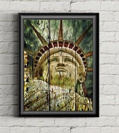 Statue of LIBERTY Art,  Lady Liberty- American Decor, Patriotic Poster, Freedom Wall Art Poster Painting, Liberty Torch, American Home Decor by LaserPrintStudio on Etsy