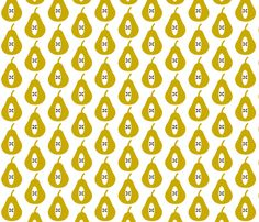 Pear Small - Mustard fabric by louise_brainwood_designs on Spoonflower - custom fabric