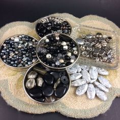 Over 700 Silver, Grey & Black Beads in Mixed Sizes, Materials and Shapes. All Come From Broken Costume Jewelry! 3 Large Disc Beads are a Steel Blue in Bright Light. Materials Appear to Be Plastic, Metal, Glass, Stone and Shell. | eBay!