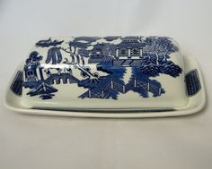 Churchill Blue Willow Covered Butter Dish #churchill #blue_willow