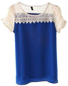 Blue Contrast Lace Short Sleeve Chiffon Blouse - Sheinside.com