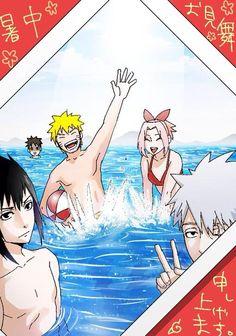 Naruto - day at the beach Is that Yamato in the background, he looks kinda creepy Anime Naruto, Naruto Sasuke Sakura, Naruto Art, Otaku Anime, Naruto Uzumaki, Anime Manga, Naruto Team 7, Naruto Family, Boruto Naruto Next Generations