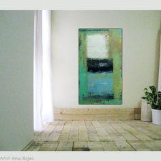 """Ursprüngliche abstrakte Malerei Acryl moderne abstrakte Kunst 42 x 24"""" Free Shipping überall Creme Off weiß schwarz und blau Farbflächen"""