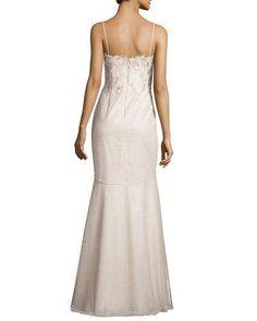 TBX96 Aidan Mattox Spaghetti Lace-Top Mermaid Gown