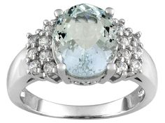 2.85ct Oval Altai Aquamarine (Tm) With .90ctw Round White Zircon Sterling Silver Ring